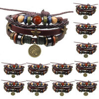 Leather antique star sign horoscope zodiac constellation wristband bracelet