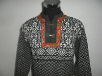 vintage Norweger Strickpulli hand-made Pullover hippie norway Wolle Gr.M