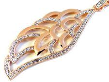 Collares y colgantes de bisutería brillantes de oro rosa