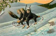 Vintage Postcard Kids on a sled going down snow slope chimney sweeps