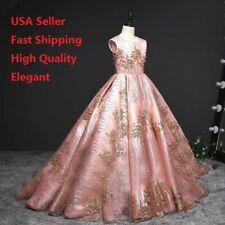 Childrens Kids Girls Elegant Formal Gold Flower Embroidered Pageant Dress O80 MG