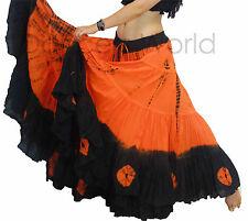 """Orange Black Gypsy Tribal 25 yards yard belly dancing cotton Folk skirt L37"""""""