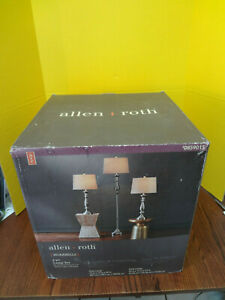 ALLEN + ROTH 3 pc Lamp Set Brushed Nickel Finish White Shades #0859015 ~FAST S/H