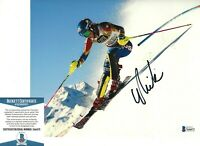 SKIER MIKAELA SHIFFRIN SIGNED SLALOM WORLD CHAMPION 8x10 PHOTO C BECKETT COA BAS