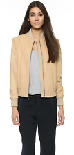 $895 NWT VINCE SOFT LUXE LEATHER BOMBER KNIT TRIM JACKET BEIGE CREAM SZ S