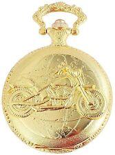 Pocket Watch Quartz White Gold Motorcycle Bike Metal W-50742408749350