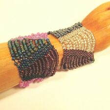 Set of 2 Lt Purple Mauve Multi Strand Handmade Swag Stretch Seed Bead Bracelets