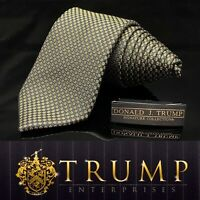 DONALD J. TRUMP~ SIGNATURE COLLECTION Black Gold Flake NECKTIE POWER TIE 61""