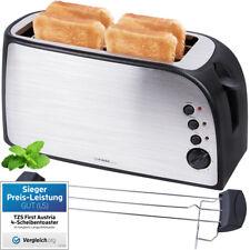 Edelstahl 4 Scheiben Toaster mit  Krümelschublade Sandwich Langschlitz