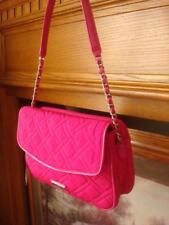 NWT VERA BRADLEY 3-SECTION FUCHSIA QUILTED NYLON & PATENT TRIM SHOULDER BAG ~$88