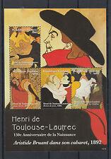 Togo 2014 neuf sans charnière Henri de Toulouse-Lautrec 150e naissance anniv 4V m / s Moulin Rouge