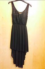 NEW Black Lace Top Dip Hem Dress Size 8-10