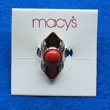 Macy's Gold Tone Red Stone Ring, Black Double Striped Band