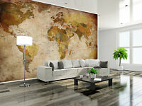 Retro Weltkarte Globus XXL Wanddekoration Wohnzimmer Wandbild 336cm x 238 cm