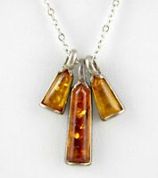Vintage Sterling Silver Triple Amber Pendant Necklace Yellow and Orange 925