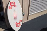 Vintage Wangler Surfboard White with Flowers 45'' X 19.5''