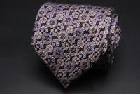 BRIONI Silk Tie. Brown w Pink & Orange Floral. Hand Made in Italy.