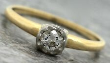 Antique Victorian 1890s Estate 14K 585 Yellow Gold Diamond Engagement Ring