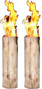 2 Stück Schwedenfeuer Baumfackel Gartenfackel Finnenfackel H: 60 cm D: 15-20 cm