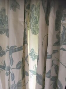 LAURA ASHLEY SUMMER PALACE OFF WHITE / DUCK EGG PAIR OF CURTAINS