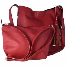 Style London Large Ladies Faux Leather 2 in 1 Shoulder Bag - Red