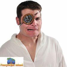 Skull Black Eye Patch Eyepatch Pirates Steam Punk Mens Fancy Dress Accessory