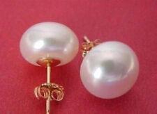 Big! AAAA 12-13mm South Sea White Pearl Earring 14K