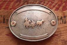 Vintage Vogt Sterling Silver 10K Gold Cowboy Rodeo Western Trophy Belt Buckle