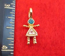 14KT GOLD EP GIRL DECEMBER BLUE ZIRCON SMALL BIRTHSTONE KIDS PENDANT CHARM