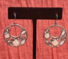 Jewel Bead Hoop Dangle Drop Earrings New listing Silver Tone Clear White Rhinestone Gem