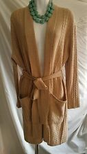 100% Cashmere Camel Beige Cable Belted Shawl Cardigan Long R$298 NWT