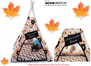 Ambaby One Size Stable Dog Cat Cozy Teepee Tent Bed Pet House With Soft Cushion