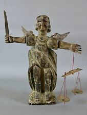 "Large Hand Carved Wooden St. Saint Michael Guatemalan Santo Statue 15.5"""