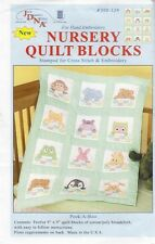 "1 Jack Dempsey ""Peek-A-Boo"" Stamped Cross stitch/Embroidery Nursery Quilt Blocks"