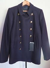 ZARA  Blue Color  Solid Double breast  Long Sleeve Jacket Coat Size  L