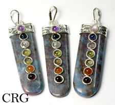 Silver Plated Ruby with Kyanite Tongue Shape Pendant w/ 7-Stones (TS3DG)