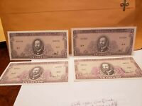 Lot Of 4 Chile 1960s One Escudo 4 Different Serie & 2 Different Signatures ,UNC