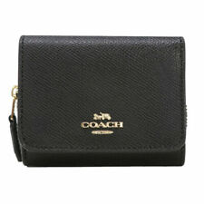 New Authentic Coach F37968 Small Trifold Wallet Leather Black with Gift Box