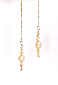 *IAJ* GOLD FILLED Ear Threader w/ SWAROVSKI CRYSTAL CREAM FRESHWATER PEARL