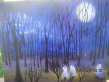 Moonlit Folk Art Halloween Ghost Under The Moon Woods Fall Autumn Lizzy Rainey