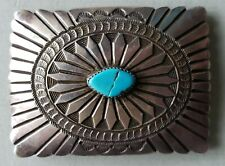 Vintage Navajo Sterling Silver Belt Buckle Turquoise (broken) Native American #9