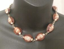 Vintage Beach Shell Necklace Brown White Sand Shark Sea Life Womens Gold