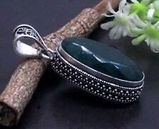 925 Sterling Silver Green Emerald Gemstone Jewelry Vintage Pendant Size-2''