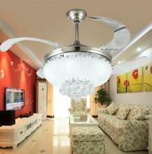 """Remote Control 42"""" Invisible Ceiling Fan Light Silver Crystal LED Chandelier"""
