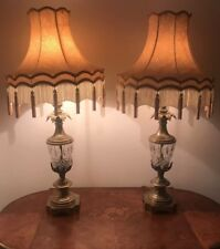 Grand Pair Of Antique Brass Lamps + Handmade Silk Lampshades