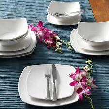 24-Piece Square Dinnerware Set Dinner Dessert Plates Bowls Ceramic White Dishes