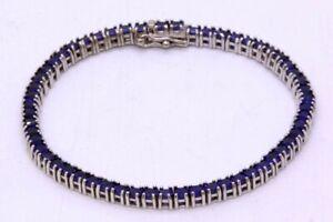 "7"" 925 Sterling Silver Lab-Created Cushion Cut Sapphire Tennis Bracelet"