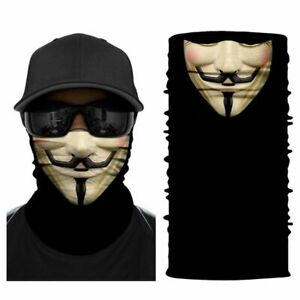 FACE MASK FACE COVER Guy Fawkes 3D Head Wear V for Vendetta Anonymous Neck Sock
