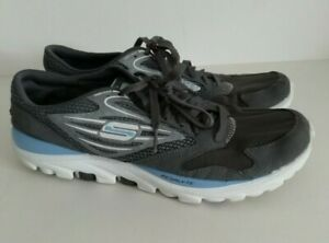 SKECHERS GO RUN RESALYTE Ladies Size 6 UK Grey Blue Lace Up Trainers Shoes