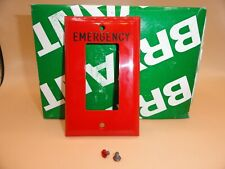 "BRYANT 1 GANG SWITCH PLATE COVER RECEPTACLE RED ""EMERGENCY"" 88061-REM (QTY 1)"